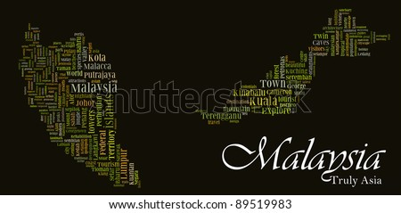 Major Malaysia tourism destinations & attractions info-text/word cloud/word collage composed in the shape of Malaysia map suitable for travel agent/tour operator promoting Malaysia Tourism packages