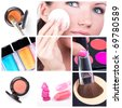 Make-up collage. Make-up tools - stock photo