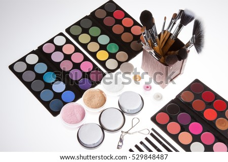 Make up kit on white background. Professional cosmetics. Eye-shadow,rouge,powder.