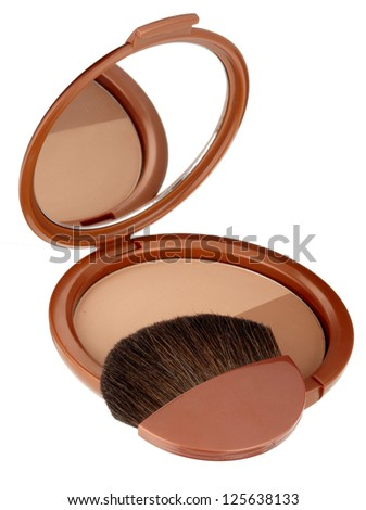 Make-up powder with brush in box isolated on white