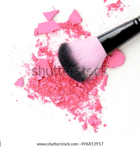 makeup brush products with crushed eyeshadow pink makeup.