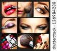 Makeup Collage. Professional Make-up Details. Makeover - stock photo