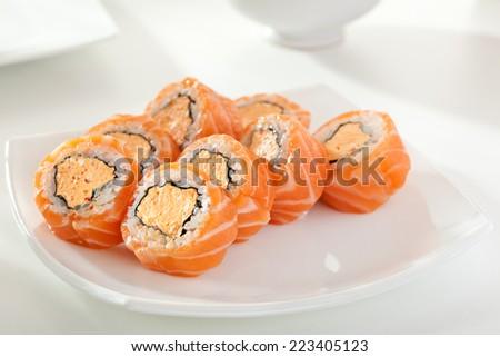Tempura Maki Sushi Deep Fried Roll Stock Photo 524949661