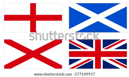Making of the Union Jack flag of the UK from the national flags of England, Scotland and Ireland