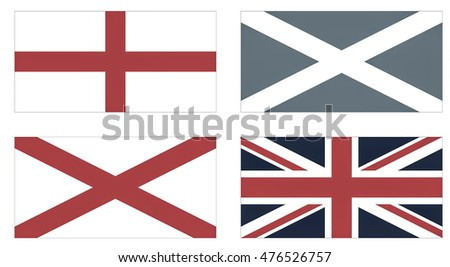 Making of the Union Jack flag of the UK from the national flags of England, Scotland and Ireland vintage