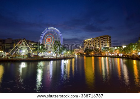 MALACCA, MALAYSIA - MARCH 23: Malacca eye on the banks of Melaka river on MARCH 23, 2014 in Malacca, Malaysia. Malacca has been listed as a UNESCO World Heritage Site since 7 July 2008.