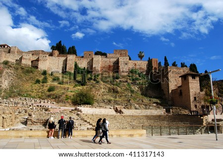 MALAGA, SPAIN - APRIL 13, 2016: Ancient Roman Theatre and Alcazaba walls in Malaga, Andalusia, Spain
