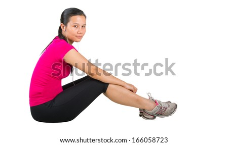 Malay asian female in jogging or running attire
