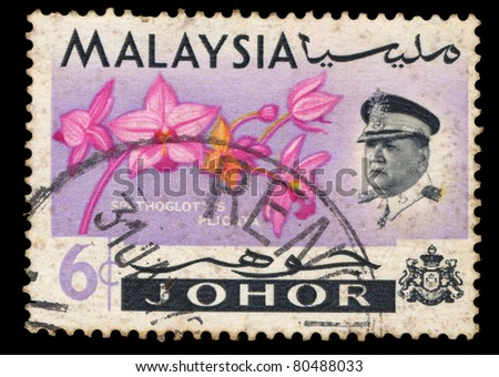 MALAYSIA - CIRCA 1972: A stamp printed in Malaysia shows Large Purple Orchid (Spathoglottis plicata ), series, circa 1972