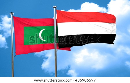 Maldives flag with Yemen flag, 3D rendering