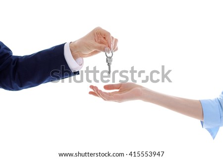 Male and female hands with keys, isolated on white