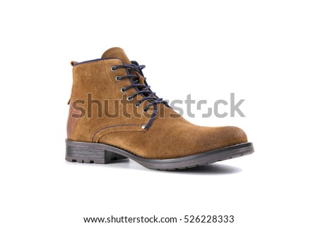 male boots, brown leather on white background, isolated product, top view