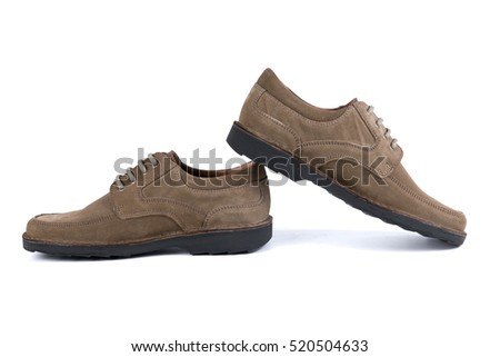 male brown shoes leather on white background, isolated product
