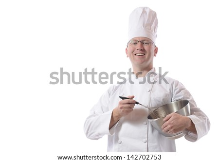 Male chef smiling with mixing bowl isolated on white