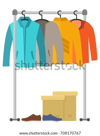 Male Clothes And Shoes On Flat Design