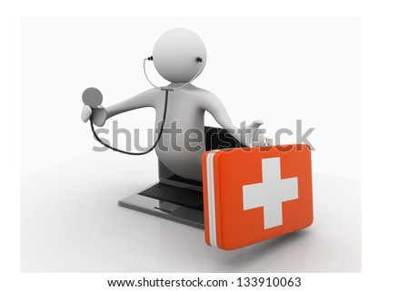 Male doctor holing stethoscope and fist aid box from screen of laptop. online medical  help