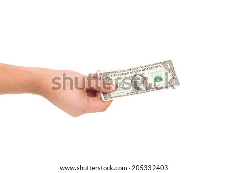 Male hand holding Dollar bill on the white