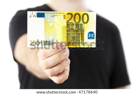 Male hand holding 200 euro bill isolated on white