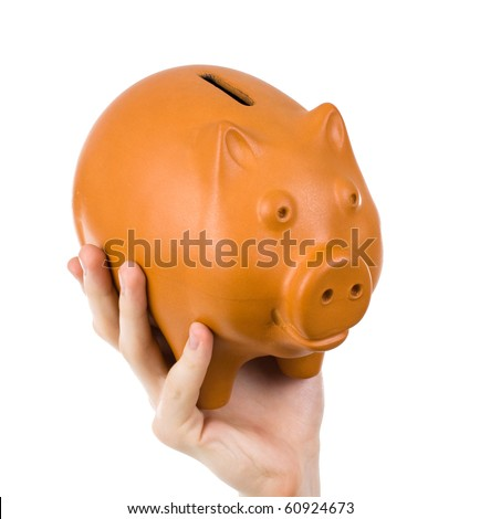 Male hand holding piggy bank 2, isolated on white background
