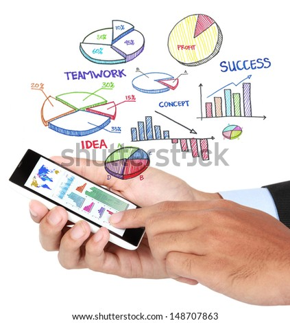 Male hand touching a chart with smartphone isolated over white background