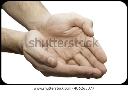 Male hands as if holding something.