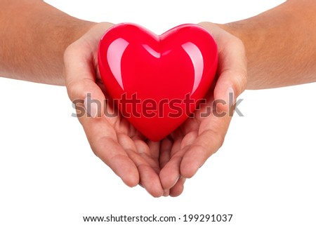 Male hands holding red heart isolated on white