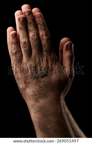 Male hands on black background