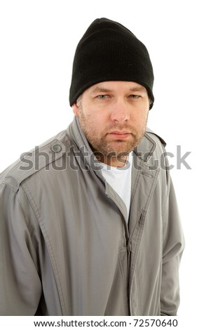male homeless tramp over white background