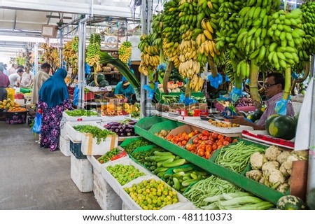 MALE, MALDIVES - JULY 11, 2016: Fruits and vegetables in the Produce Market in Male, Maldives.