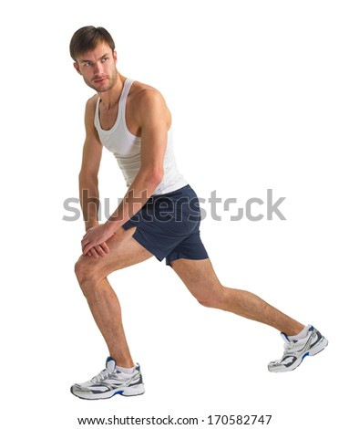 male sportsman doing actively exercise isolated on white background