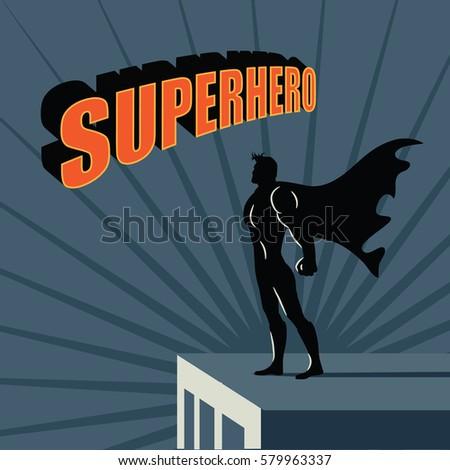 female super hero atop skyscraper background stock vector