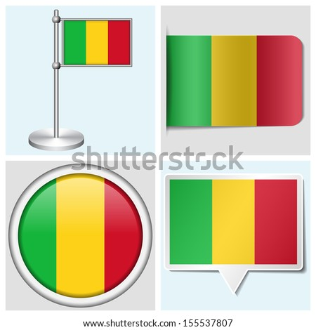 Mali flag - set of various sticker, button, label and flagstaff