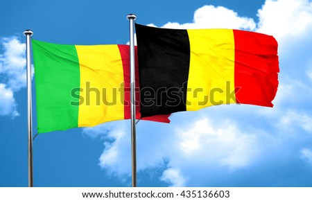 Mali flag with Belgium flag, 3D rendering