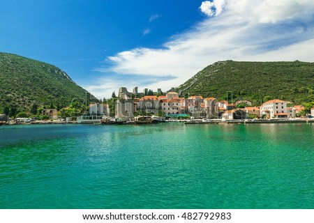 Mali Ston Town seen from the ship, Adriatic Sea, Croatia, Europe