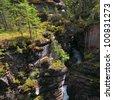 Maligne canyon's falls in Jasper National Park. Alberta.Canada - stock photo