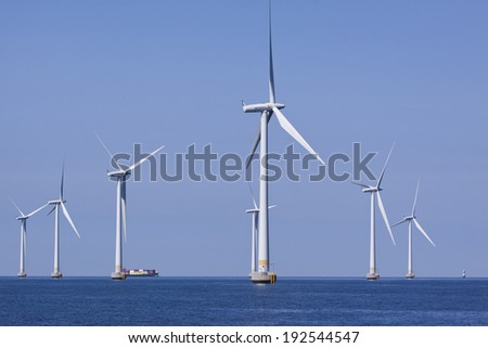 MALMO, SWEDEN - JUNE 11, 2011: Lillgrund offshore wind park in Oresund, close to Malmo Sweden, June 11, 2011. This park was inaugurated 2008 by the Swedish king and has a capacity of 330 GWh.