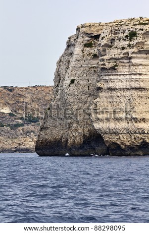 Malta Island, view of the southern rocky coastline of the island