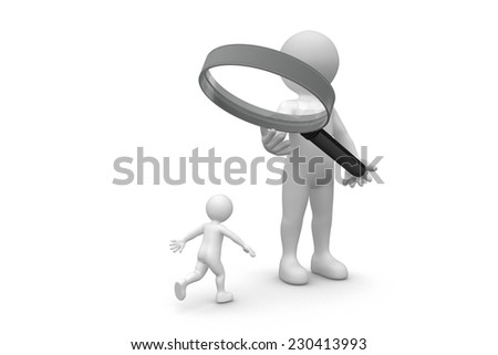 Man and magnifying glass isolated on white background