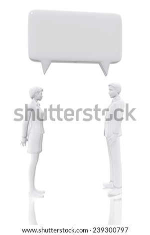 Man and woman with talk bubble symbol