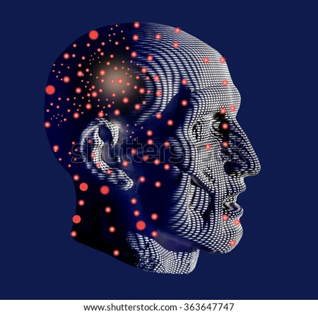Man android.Anatomic head cosmic man.Cosmic mind.