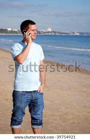 Man calling home from abroad