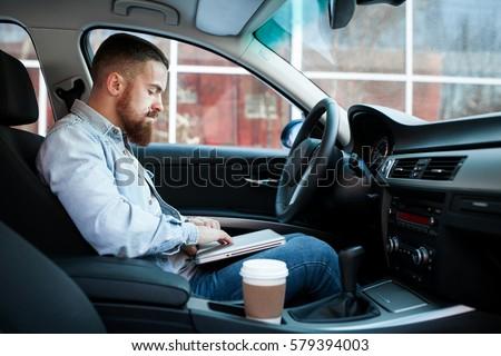 Man Car Beard Stock Photo 579393787 Shutterstock