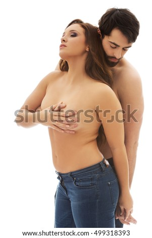 Man covering woman's breast.
