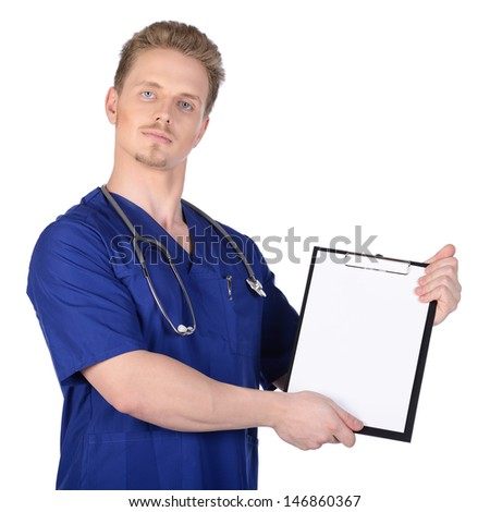 Man doctor in blue suit with stethoscope and clipboard. Isolated on white background.