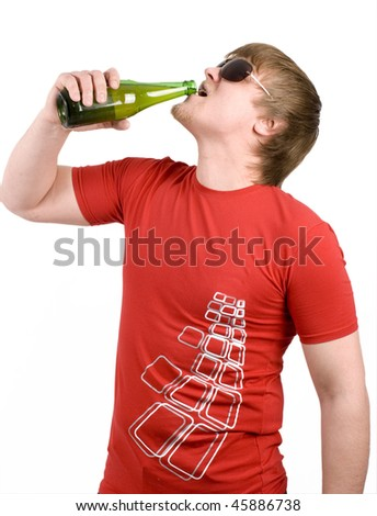 man drink beer from bottle