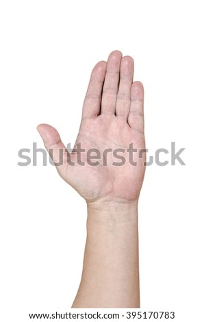 Man hand isolate on white background with clipping path