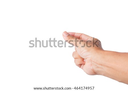 man hand picking up something action, isolated on white
