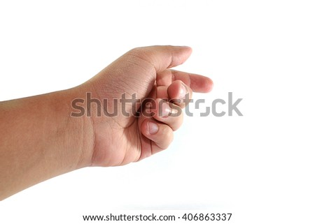 man hand touching or pointing to something,isolated on white background