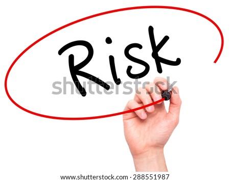 Man Hand writing Risk with black marker on visual screen. Isolated on white. Business, technology, internet concept. Stock Image