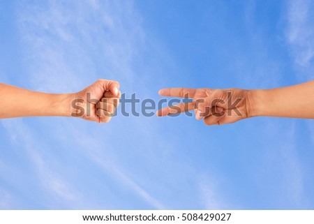 Man hands holding on bule sky background